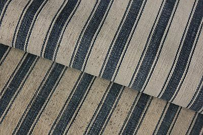 Primitive Ticking French French c 1900 bolster pillow cover denim fabric