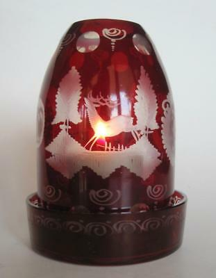 Vintage Czech Bohemian Deer Etched Art Glass Cranberry Fairy Lamp Candle Holder
