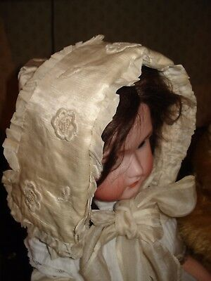 Very Large Silk Antique Baby or Child Bonnet