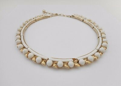 Vintage Gold Tone CROWN TRIFARI White Lucite Bead Link Necklace