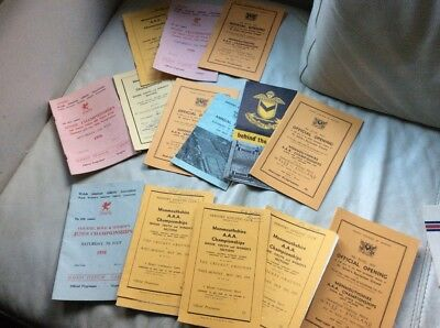 Collection of Monmouthshire AAA Atheletics Programmes