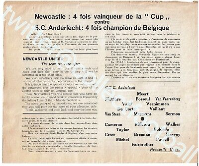 Rare Anderlecht V Newcastle United 1951 Friendly programme Plus Extra  Booklet