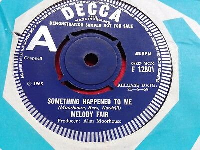 "MELODY FAIR - RARE UK PROMO 7"" - SOMETHING HAPPENED TO ME - Decca 1968"