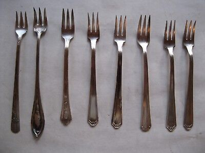 Vintage Flatware Mini Forks 3 Prong Lot of 8