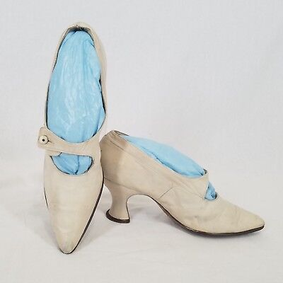 Vintage Early 1900s Off-White Leather Shoes Side Button Strap Wedding Summer 7