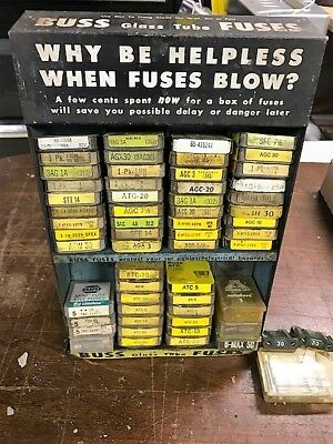 1950s Buss Fuses Tin Sign Advertising Display w/over 100 fuses & over 60 AT fuse