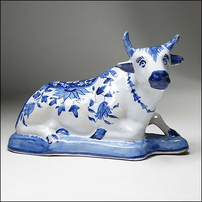 19C French Faience Tin Glaze Delft Art Pottery Blue & White Vintage Cow Figurine