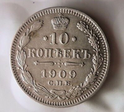 1909 RUSSIAN EMPIRE 10 KOPEKS - Excellent Scarce Silver Coin - Lot #122