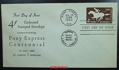 4 cent envelope PONY EXPRESS 1960 First Day Cover U543