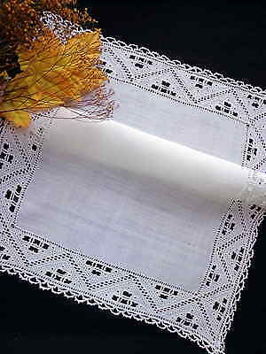Tablecloth Antique Italian White Linen Handmade Needle Lace & Embroidery 20""