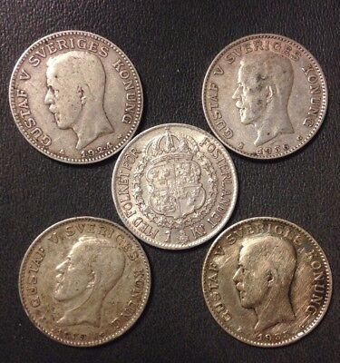 Vintage Sweden Coin Lot - KRONA - 1924-1940 - 5 Great Silver Coins - Lot #122