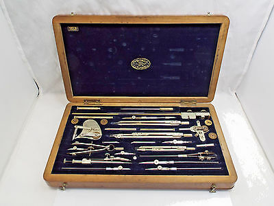 Antique 1920's EO Richter & Co Precision Drafting Set XVI.P Wooden Box