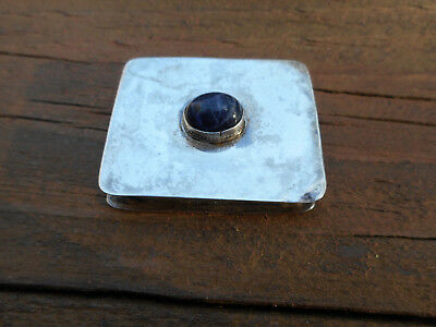 "Small Sterling Silver Hand Made Box With Sodalite Or Lapis Cabochon Finial"" Rp """