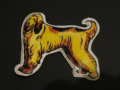AFGHAN HOUND DOG  puffy sticker refrigerator magnet 1974 BY MAGNETIO HONG KONG