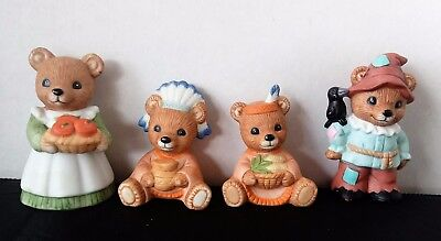 4 Vintage HOMCO Bisque Thanksgiving Fall Figurines Indians Scarecrow Cute!