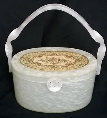 RARE 50's WILARDY Vtg Pearlized White Oval BOX PURSE HANDBAG Beaded Embroidered