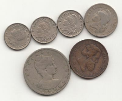 Lot of 4 Argentine & 2 Brazilian Coins (including 1869 20 R)...99 cents...NR!