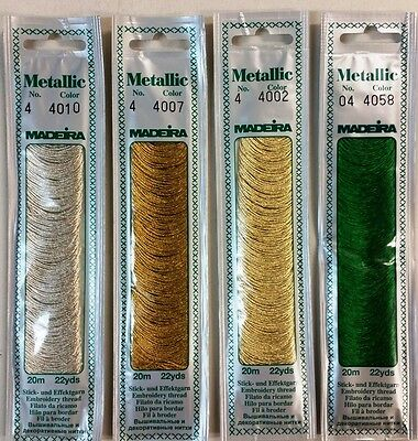 Madeira Metallic Embroidery Thread / Floss  - Various Colours 20M Packs