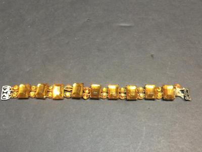 Vintage Art Nouveau Era Layered Faceted Crystal Link Bracelet - As-Is