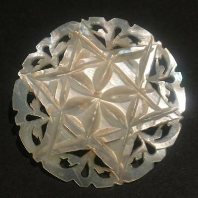 Vintage Carved and Pieced Mother of Pearl Star of David Pin Brooch