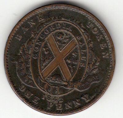 Canada Colonial token Breton 526  PC-2B  Penny Bank of Montreal on ribbon 1842