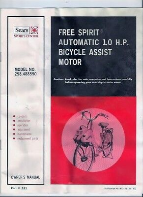 Sears Free Spirit Bicycle Motor Owners Manual New Old Stock