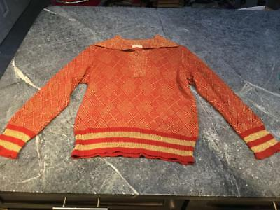 Vintage BONWIT TELLER Orange and Gold Sweater - Size 12 - Made in Italy