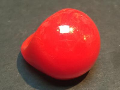 Vintage Cherry Red Swirl Bakelite Dome Ring - Size 6