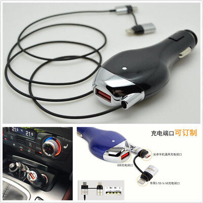 2in1 USB 3A Fast Car Charger Retractable Charging Cable Mobile Phone GPS Charger