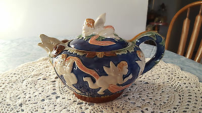 Cobalt Blue Cherubs & Ram Head Spout Teapot