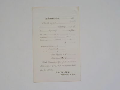 Civil War Document Unused Milwaukee Wisconsin No Writing Paper VTG Antique 1 USA