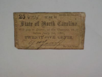 Civil War Confederate 1861 25 Cents Note Raleigh North Carolina Paper Money