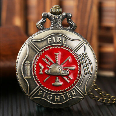 Bronze Retro Fire Fighter Women Men Quartz Pocket Watch Necklace Chain Gift