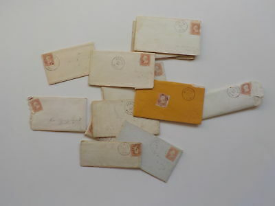 12 Antique Letters 1800s East Saginaw Michigan Howell Lot Covers Stamps Cancels