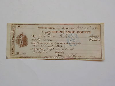 Antique Check 1878 Services As Juror Tippecanoe County Indiana Lafayette Money