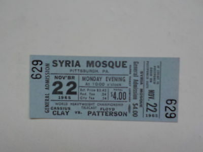 Boxing Ticket MUHAMMAD ALI vs FLOYD PATTERSON 1965 Cassius Clay Fight Boxers VTG