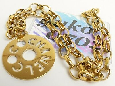 s8700 Auth Chanel CC Big Medal Charm Long Chain Necklace Gold Plated