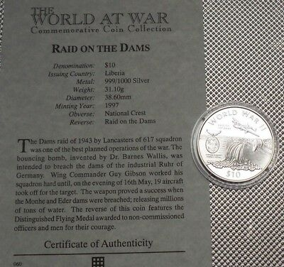 1997 Liberia Silver Proof $10 Coin  Wwii  Collection & Cert {9}