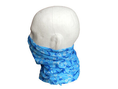 Neck/Face Warmer Tube Bandana Bike Pattern Microfibre Light Blue