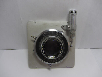 Coated Graflex Optar 135mm f/4.7 Lens in a Wollensak Graphex Shutter and Mount