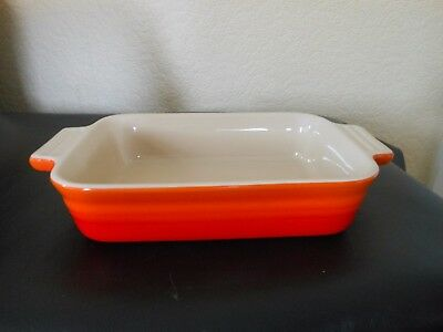 VOLCANIC Le Creuset SHALLOW Rectangular Casserole Dish ORANGE RED Stoneware