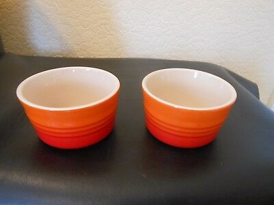 2 Le Creuset VOLCANIC Ramekin Dishes ORANGE RED Stoneware Condiment Bowls unused