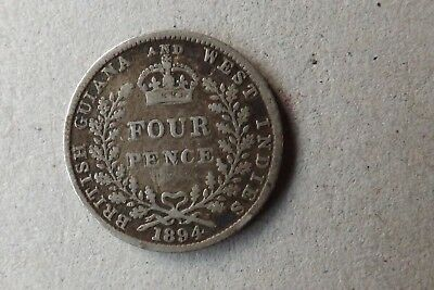British Guiana & West Indies Silver 4 Pence Coin 1894 Very Fine Grade Scarce...
