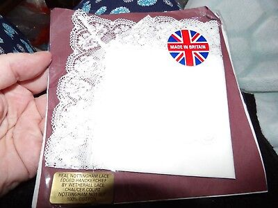 Unused Vintage  Nottingham Lace Trimmed Handkerchief British  Wetherall G354-5