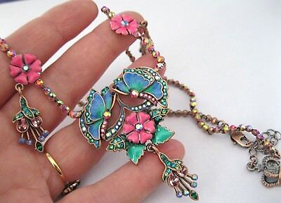 New Signed Butler And Wilson Butterfly Fuschia Flower Crystal Enamel Necklace
