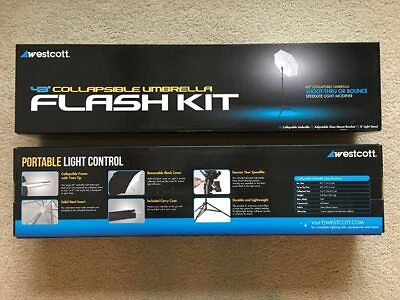"{Used Once} Westcott 43"" Collapsible Umbrella Flash Kit With Stand Excellent Cnd"