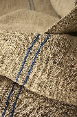 Antique HEAVY NUBBY SLUBBY thistle cloth hemp PRIMITIVE fabric 2.5X23wide