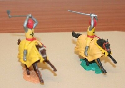 Timpo Knights - Two On Horseback Complete Vnm.  Red Helmets With Yellow Tunics