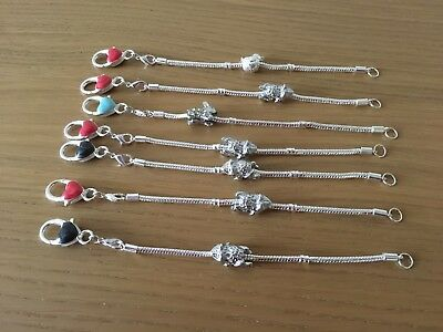Job Lot Of 7 Child's European Style Bracelets With Each With 1 Charm