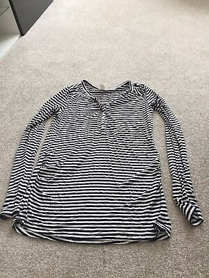 Black And White Striped Long Sleeved Maternity Top Size M. H&M